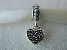 NEW! AUTHENTIC PANDORA CHARM RUBY RED PAVE HEART DANGLE #791023CZR  P