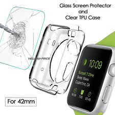 Apple Watch Case Ultra-Thin Protective Crystal Clear Soft+REAL Glass Film 42mm