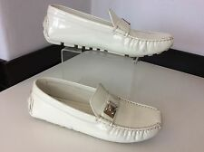 LOUIS Vuitton White patent Leather Driving Shoes Size 37.5 Uk 4.5 Deck Flats