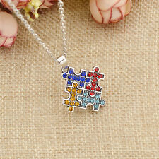 Charm Autism Awareness Necklace Crystal Puzzle Pendant Jewelry Gift Multicolor