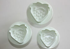 Strawberry Plungers Cutters Embossing Set of 3 Sugarcraft Cake Decorating Baking