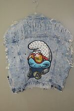 Georges Marciano GUESS Studded SMURF Jean Jacket size Medium M distessed look