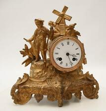 ANTIQUE 1855 FRENCH CLOCK  GRACIEUS STATUE ROMANTIC