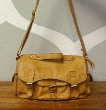 DON DONNA Brown Leather Foldover  Military Convertible Crossbody Shoulder Bag