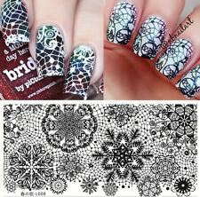 BORN PRETTY Rectangle Nail Art Stamping Image Plate Lace Snowflake L008 12*6cm
