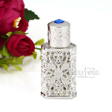 2ml Antique Hollow Out Metal Perfume Bottle Cut Glass Stopper Wedding Decor