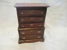 Vintage Hand Crafted Wooden Doll House Furniture - 5 Drawer Tall Chest