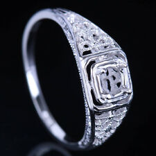 4-4.75MM ROUND SEMI-MOUNT SOLITAIRE 10K WHITE GOLD ANTIQUE VINTAGE 1930S RING