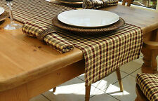 "14x98"" RURAL CHECK TABLE RUNNER - 8 SEATER - BEIGE, OLIVE GREEN & WINE CHECKED"