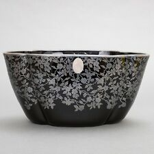 """Antique Art Deco Black Glass Oval Planter with Silver Overlay Floral 10""""x 5""""x 5"""""""