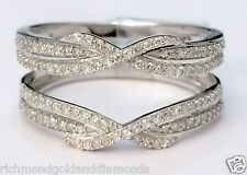 White Gold Bypass Shank Solitaire Enhancer Pave 1/3ct Diamonds Ring Guard Wrap