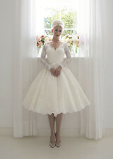 Short Vintage 1960's Lace Wedding Dress Bridal Gown Tea Length Custom 4 6 8 10+