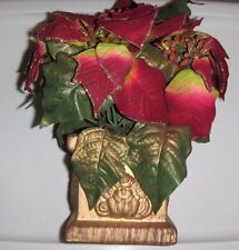 """RED Christmas Sparkly Poinsettia Bush Artificial Silk Flower 8"""" Bouquet With Pot"""