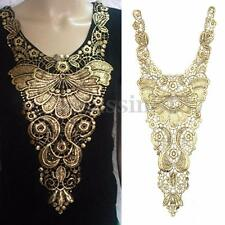 1PC Embroidered Metallic Gold Black Lace Venise Venice Collar Neckline Applique