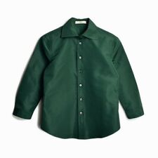 PRADA Green Silk-Blend Button Down Blouse 3/4 Sleeve Shirt - IT 38 / US 4