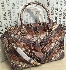 New Michael Kors Medium Selma Natural Python Embossed Leather Satchel Handbag