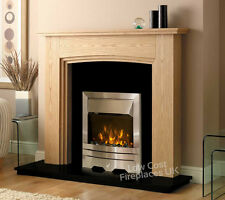 ELECTRIC OAK WOOD SURROUND SILVER BLACK GRANITE MARBLE FIRE FIREPLACE SUITE 54""