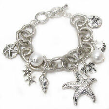 Silvertone Sealife charm bracelet with toggle closure, 8""