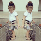 2Pcs Kids Baby Girls Dress White Shirt/Plaids Skirt Set Children Clothes Outfits