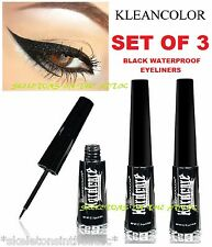 3 New Kleancolor Black Waterproof Liquid Eyeliner Pen Full Size Matte US Seller