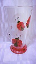 Dipinti a mano con coccinella Nero Rosso A Puntini base lavabile Grande Latte Macchiato in Vetro UK
