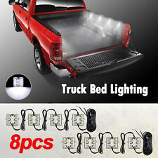 8pcs White Truck Bed Led Work Lighting Kit For Chevy Dodge GMC Trucks Pickup 4WD