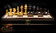 """UNIQUE"" CHERRY WOODEN CHESS SET!!! STUNNING HAND CRAFTED PIECES & CHESSBOARD!!!"