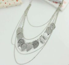 Stylish Women Multi-layer Hollow Leaves Necklace Long Sweater Chain Pendant