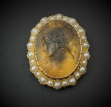 14K Yellow Gold Carved Citrine Cameo Pearl Halo Pin Brooch Pendant PG528