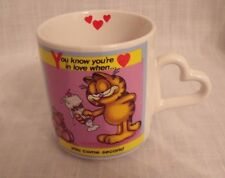 """Garfield Mug Cup 1978 """"YOU KNOW YOUR IN LOVE WHEN YOU COME SECOND """" Enesco"""