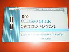 1972 OLDSMOBILE NINETY EIGHT DELTA 88 CUSTOM ROYALE FACTORY OWNERS MANUAL
