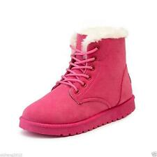 New Women's Flat Lace Up Fur Winter Martin Boots Snow Ankle Boots Shoes