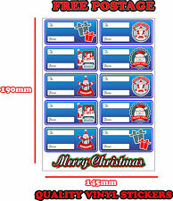CHRISTMAS PRESENT LABELS SANTA CLAUS GIFT WRAP TAGS TO AND FROM STICKER BLUE