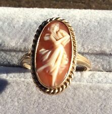 Victorian 10k Gold Full Figure Shell Cameo Ring Venus/Aphrodite SECO Antique