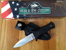 "BEAR & SON NINJA BOOT 8"" KNIFE WITH LEATHER SHEATH MADE IN USA NEW BOX"