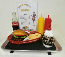 FAKE FOOD DINER CAR HOP COMPLETE CAR HOP TRAY WITH FOOD
