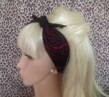 BLACK RED PAISLEY COTTON BANDANA HEAD HAIR NECK SCARF RETRO ROCKABILLY PIN UP