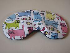 EYE SLEEP MASK Soft cotton Cats & Fish black backing :Blackout Blindfold Gift