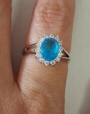 New Womens Fine Jewelry Gemstone Oval Blue & White Cubic Zirconia Ring Size 8