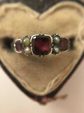 Antique Late Georgian Yellow Gold Flat Garnet And Pearl Ring Ornate Band