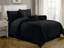 Hotel Collection King Bedding Set Luxury 7 Piece Comforter Black Dobby Stripe