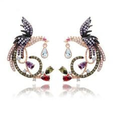 Designer Multi Coloured Zircon Stone Parrot Design Stud Pierced Earrings Jewelry
