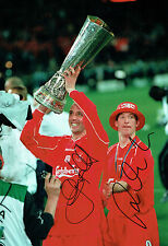 Gary McALLISTER Robbie FOWLER Double Signed Photo AFTAL COA Autograph Liverpool