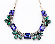Vintage Style Blue Green Leaf White Gems Jewels Statement Necklace - SHIPS FAST!