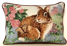 Rabbit w/ Roses, Butterfly & Pastel Flowers Tapestry By Linda Picken Pillow New