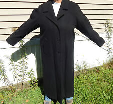 WORTHINGTON WOMAN LG. TALL BLACK 100% THICK WOOL LONG DRESSY TRENCH COAT JACKET