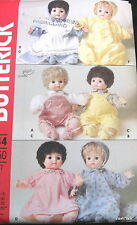 "Vtg 80s baby doll clothes pattern sleeper dress bonnet botties 16"" overalls hat"