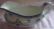 Old Periodo edoardiano gravey/SALSIERA piccolo chip sul bordo. Blu/Bianco 17.5 cm di lunghezza.
