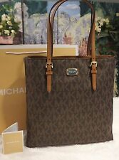 NWT MICHAEL KORS JET SET MK SIGNATURE TRAVEL LARGE NS TOTE BAG BROWN PVC $228
