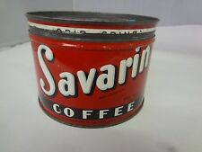 VINTAGE SAVARIN  BRAND COFFEE TIN ADVERTISING COLLECTIBLE GRAPHICS  M-23